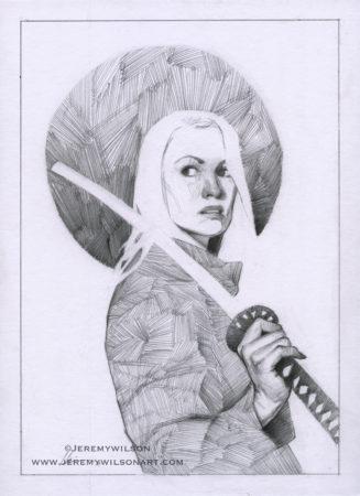 woman, warrior, samurai, sword, leather jacket, badass, pencil, graphite