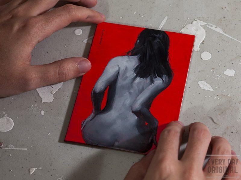 Monochrome Woman on Red #2 original