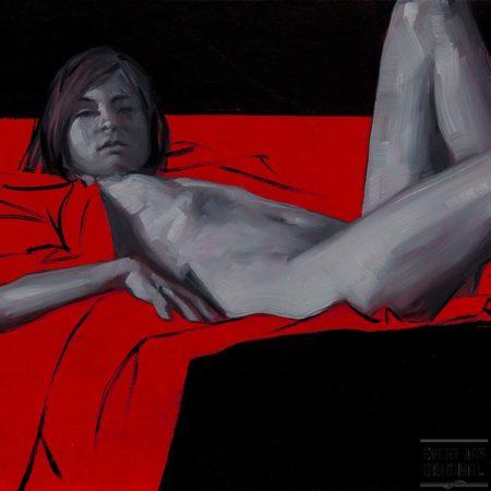 Monochrome Woman on Red #3 key
