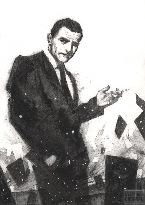 charcoal, rod serling, twilight zone, zero hour, night gallery, drawing, jeremywilsonart