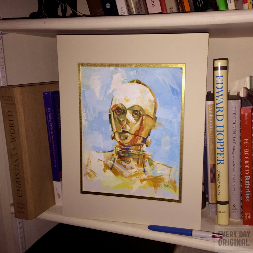 Portrait of C-3PO, artwork by Bud Cook