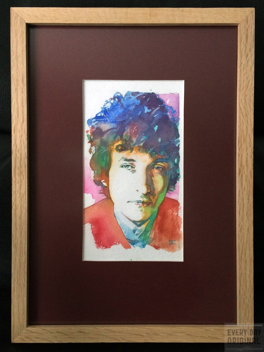 Portrait of Bob Dylan, artwork by Bud Cook