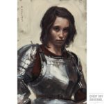 portrait of young woman in armor