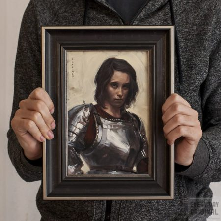 portrait of young woman in armor framed