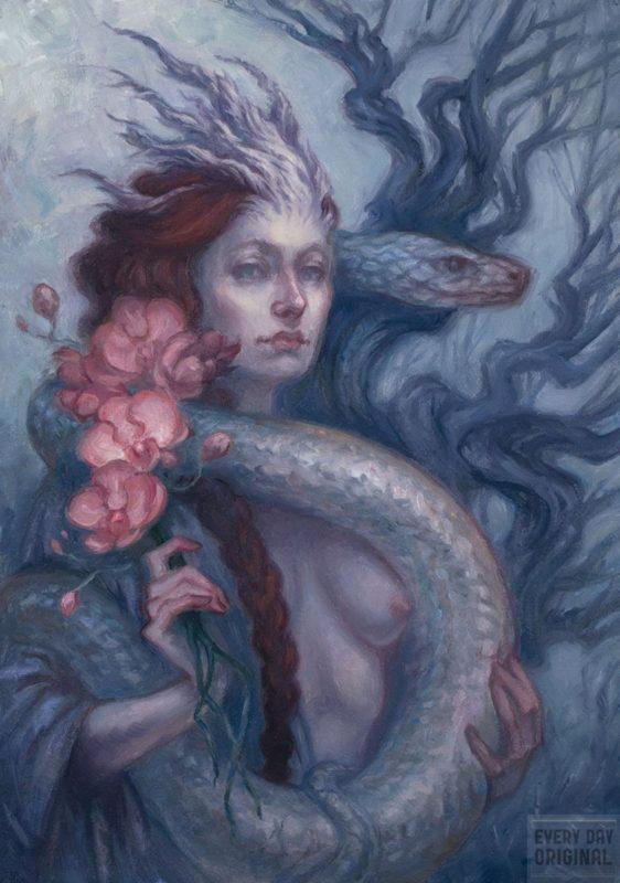 Lilith 5 x 7  oil on illo board