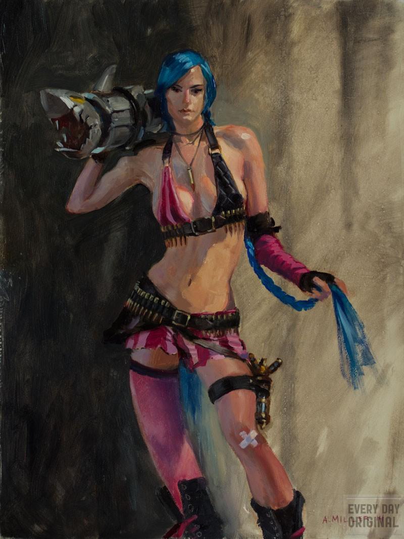 Jinx oil painting by Aaron Miller