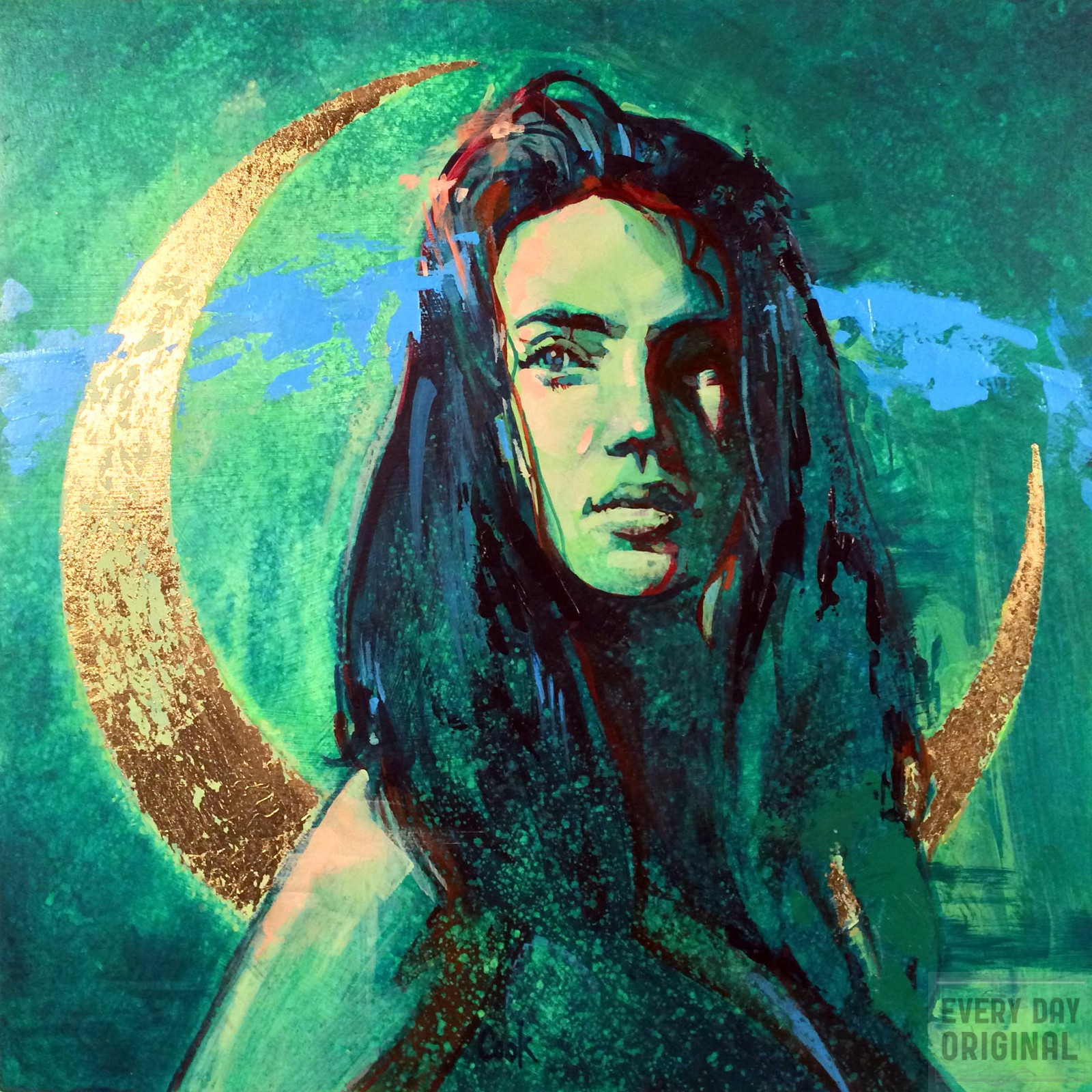 Portrait of Necia from Darkchamber, artwork by Bud Cook