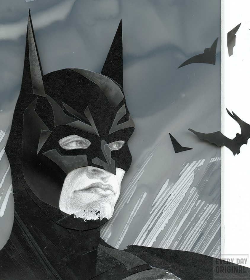 Collage of Batman by Steven Hughes (Primary Hughes Illustration)