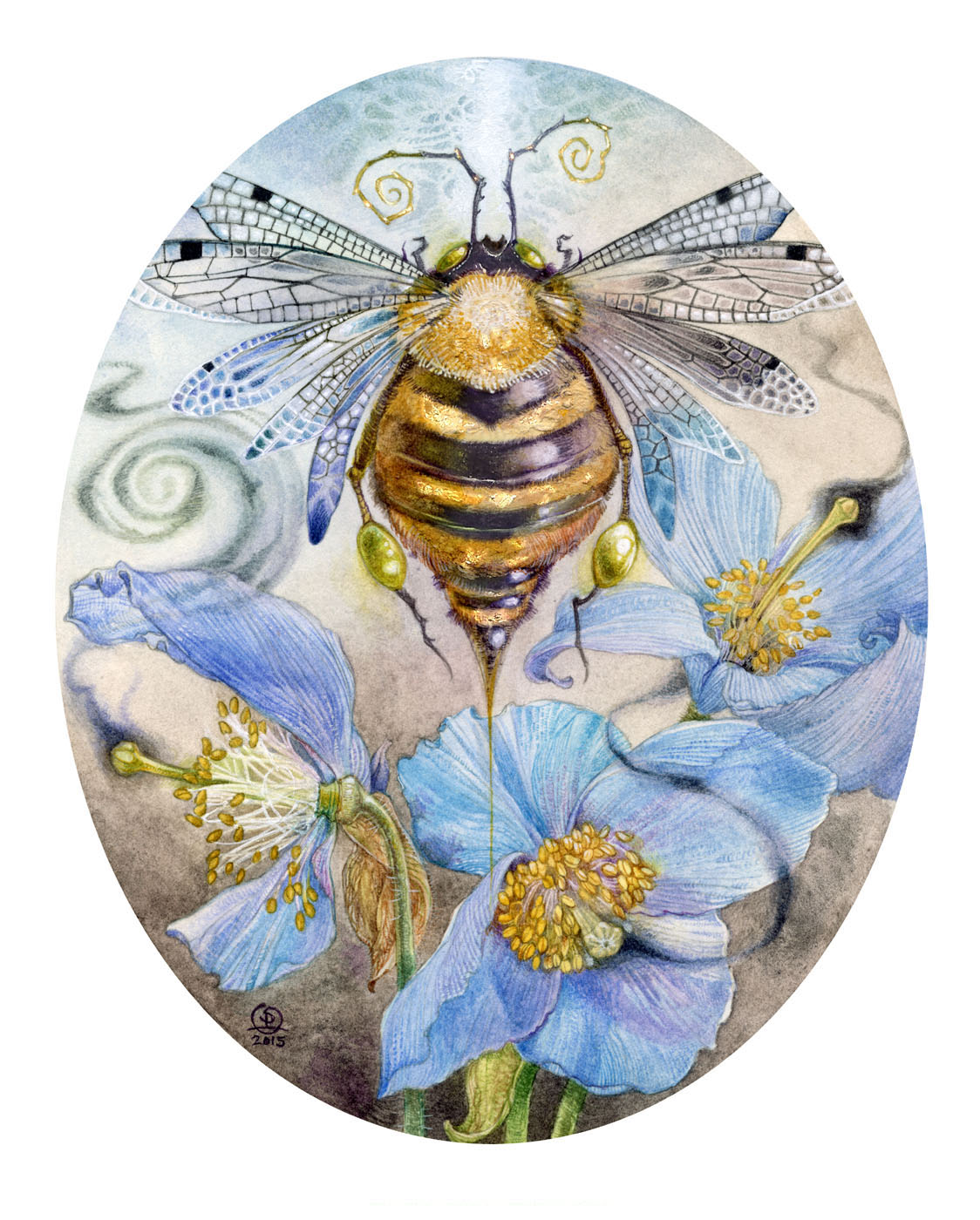 Watercolor painting by Stephanie Law of a bee-like insect among blue poppies