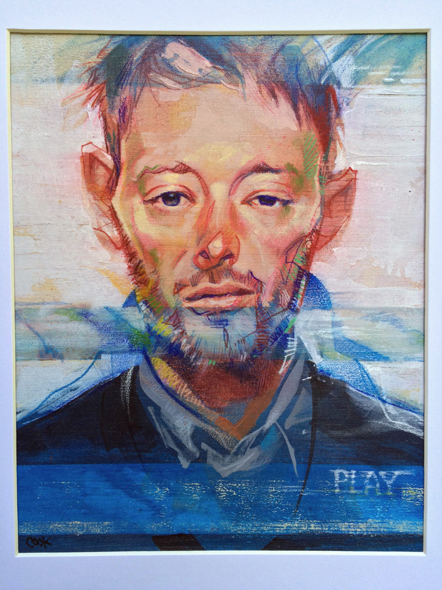 Portrait of Thom Yorke, artwork by Bud Cook