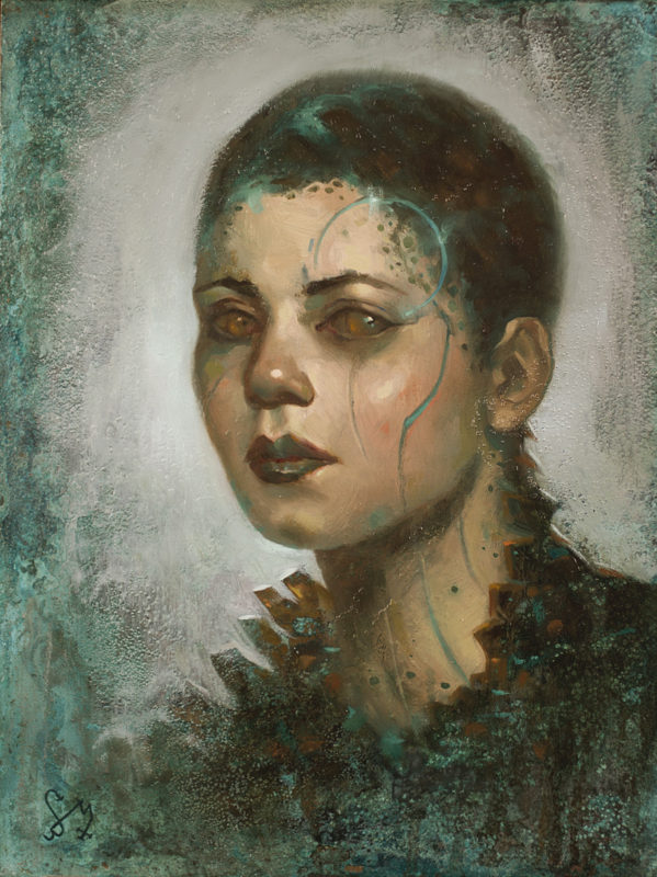 An oil painting on verdigris copper by Jim Pavelec.