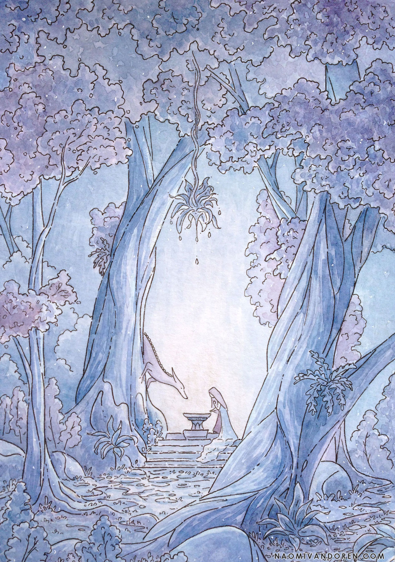 A whimsical watercolor painting by Naomi VanDoren of a woman and fox dragon beneath trees.