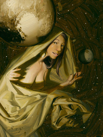 Pluto Unveiled  Original Oil Painting by Rob Rey