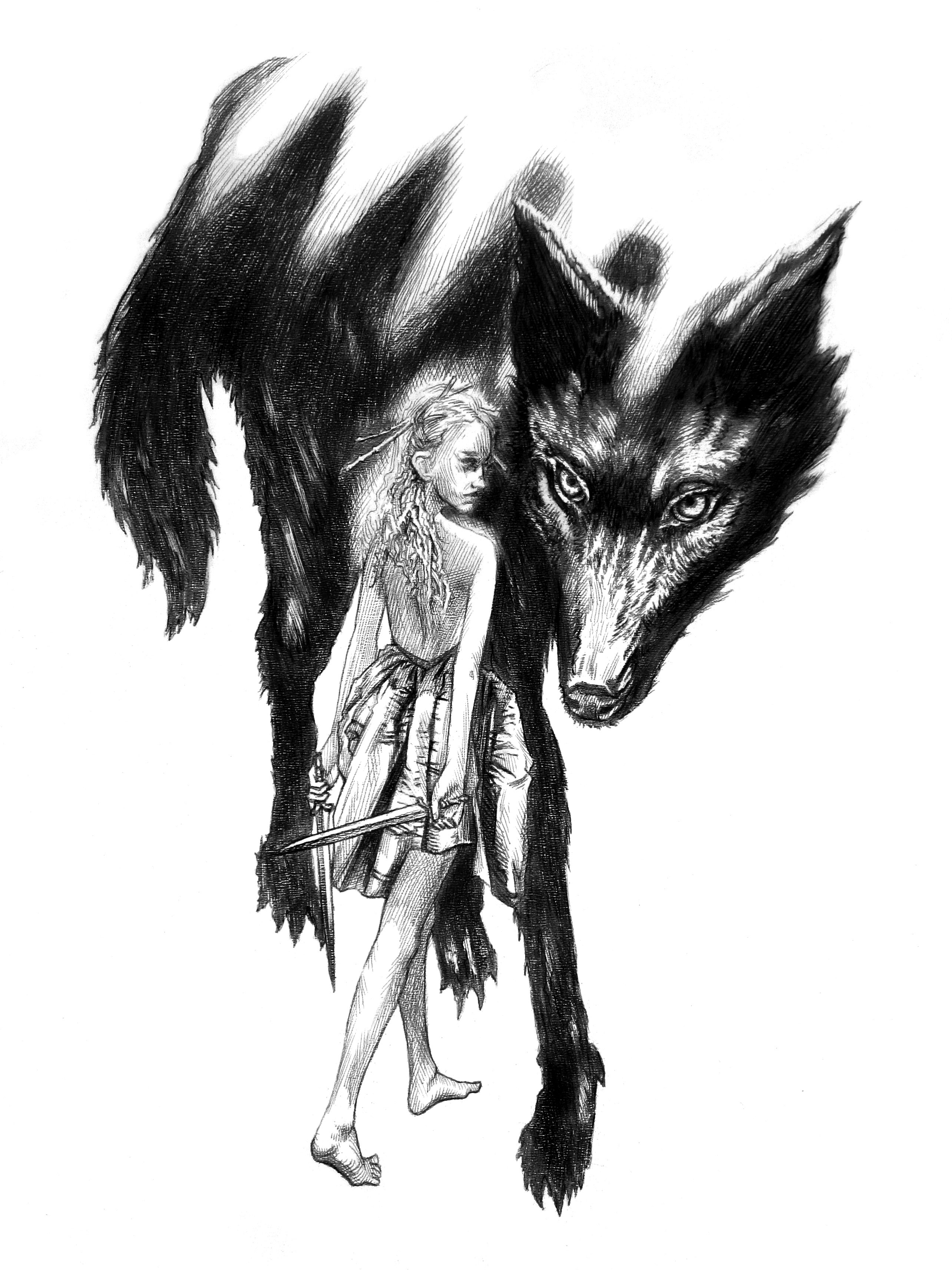 A pencil drawing of a young woman and a dire wolf by Craig Maher.
