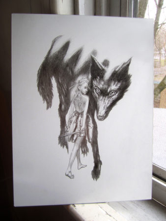 A photo of a pencil drawing of a young woman and a dire wolf by Craig Maher.