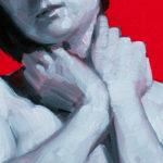 monochrome woman on red 9 detail