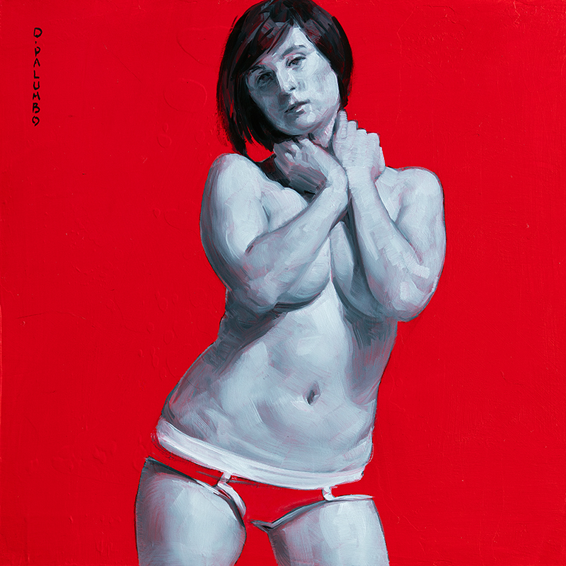 monochrome woman on red 9