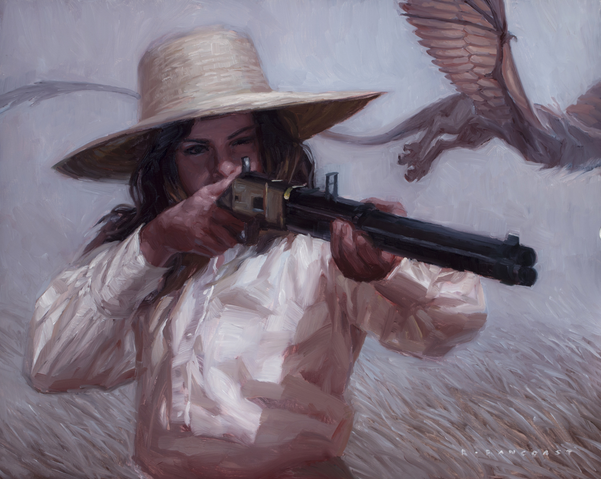 painting by Ryan Pancoast of a woman, a dragon, and a gun.