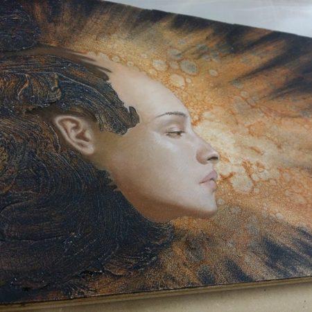 Allen Williams oil painting on board of Amun Ra the Sun God