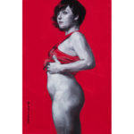 monochrome woman on red 10