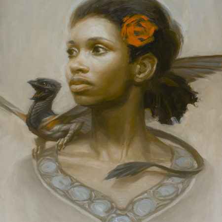 An oil painting of a woman, a rose and a dragon by Ryan Pancoast.