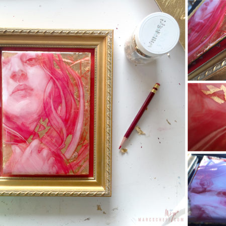 Venus, a painting in pencil, resin, acrylic, and gold leaf, all red and gold