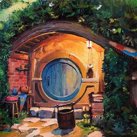 Hobbiton Blue Door at Night  $350 Canvas Panel Oil