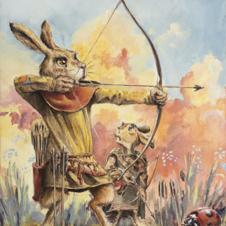 Casein painting by Chuck Grieb of a rabbit fairy teaching his son to shoot an arrow.