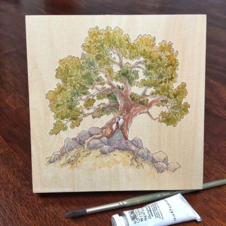 White Hart watercolor on wood by Naomi VanDoren