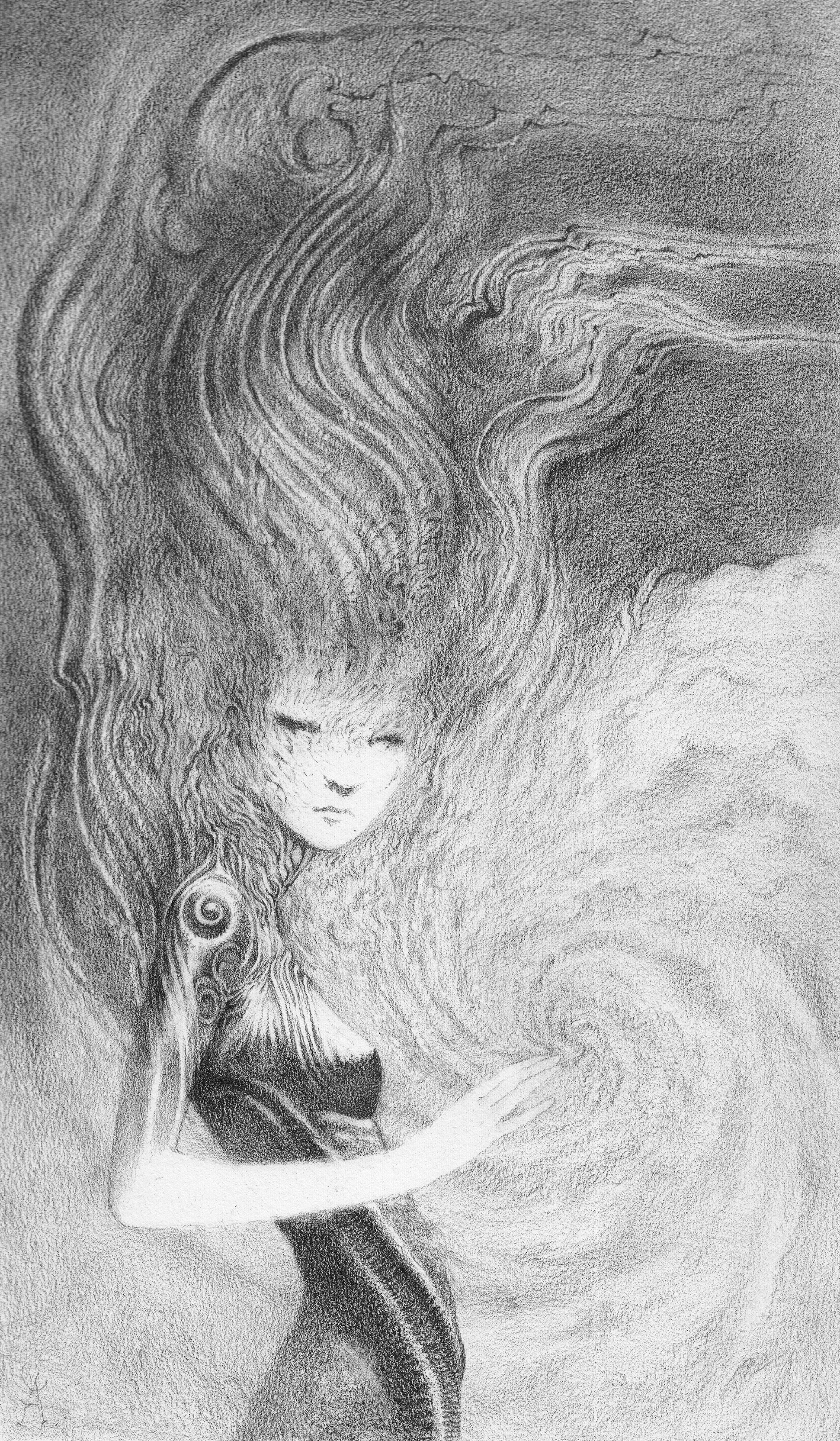 Female Elemental figure done in graphite on Stonehenge Cream Journal paper