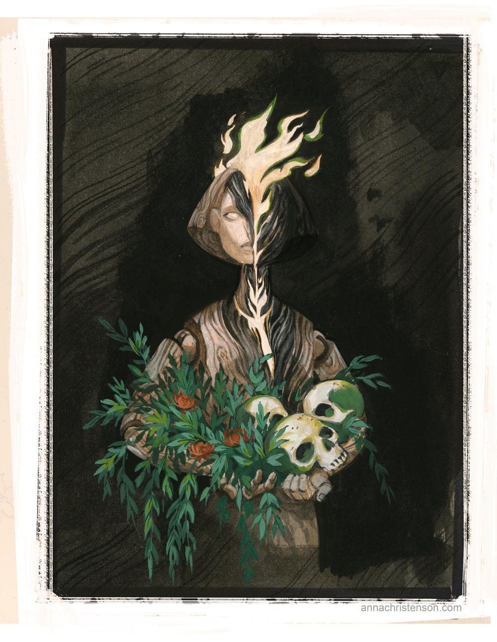 """Gouache painting done for Month of Fear """"Secrets"""" prompt."""