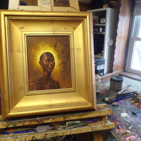 "A Daughter of Salem: Djambe 8"" x 10"" oil over acrylic"