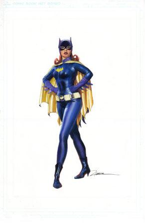 "Batgirl painted in gouache on comic board 11 x 17"""