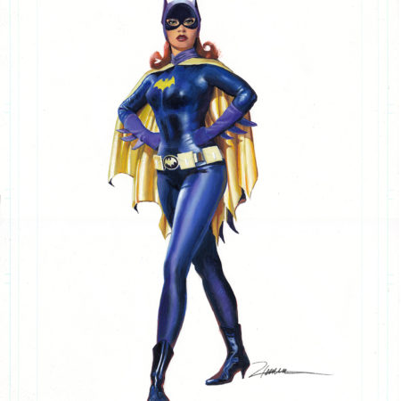 Batgirl painted in gouache on comic board 11 x 17""
