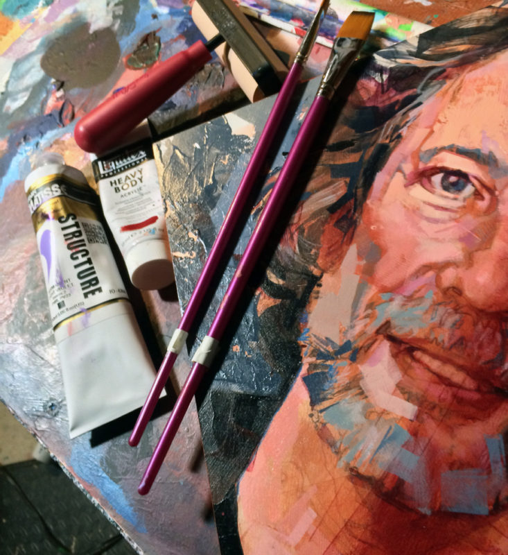 Portrait of Neil Gaiman, original art by Bud Cook