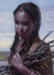 A painting by Ryan Pancoast of a native american girl