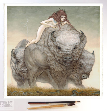 Unscathed on the back of a bison