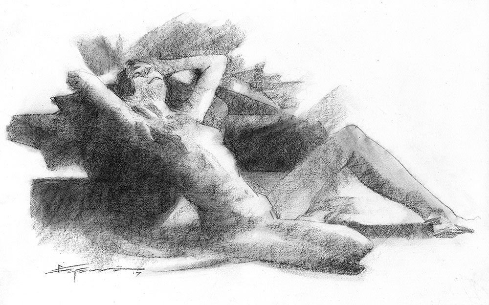 Reclining Nude Comic Art