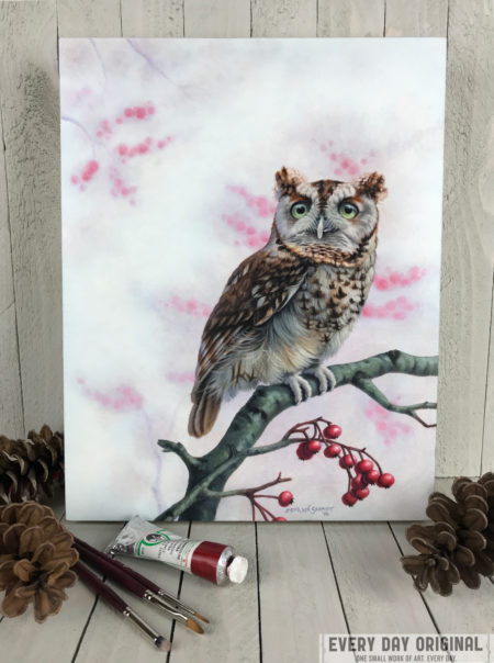 """Screech Owl in Winter"" by Erica Lyn Schmidt"