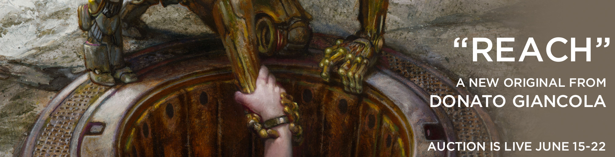 Reach, a new painting for auction by Donato Giancola