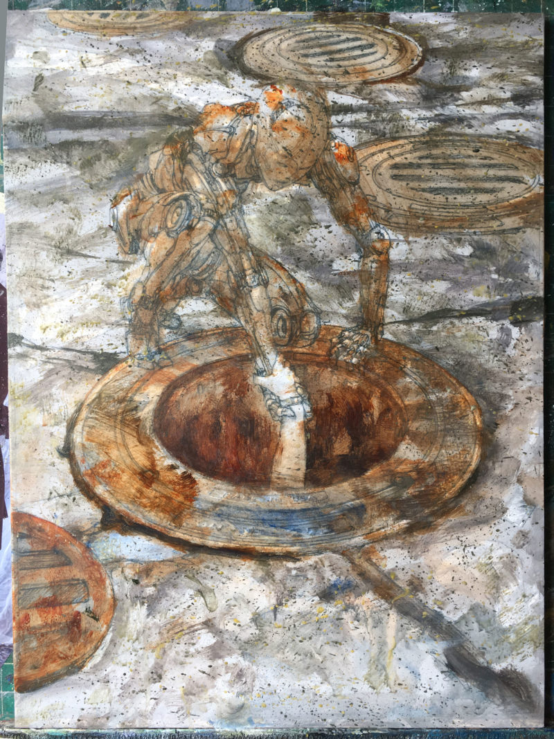 Donato Giancola auction - Reach underpainting