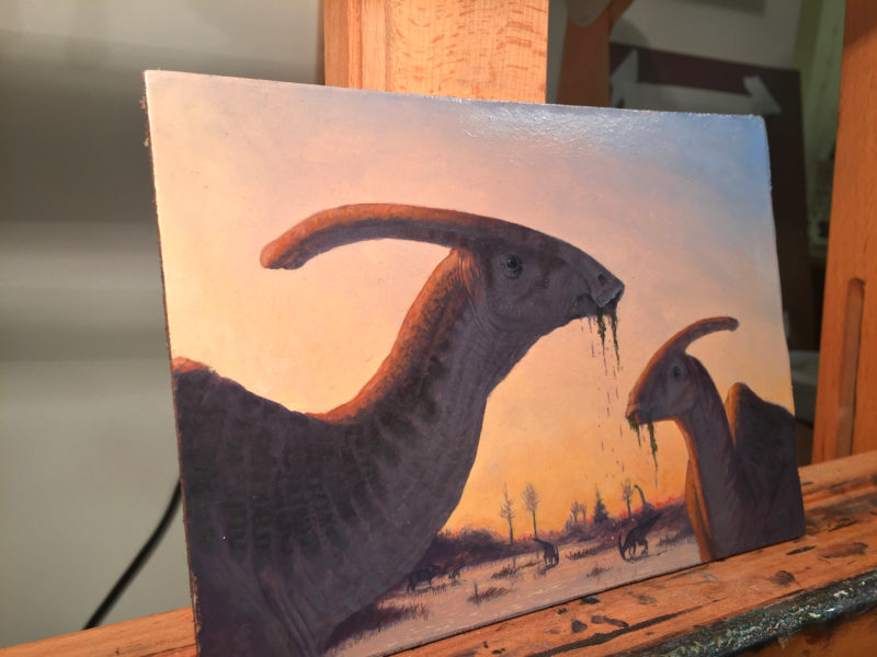 """Parasaurolophus"" detail by Owen William Weber"