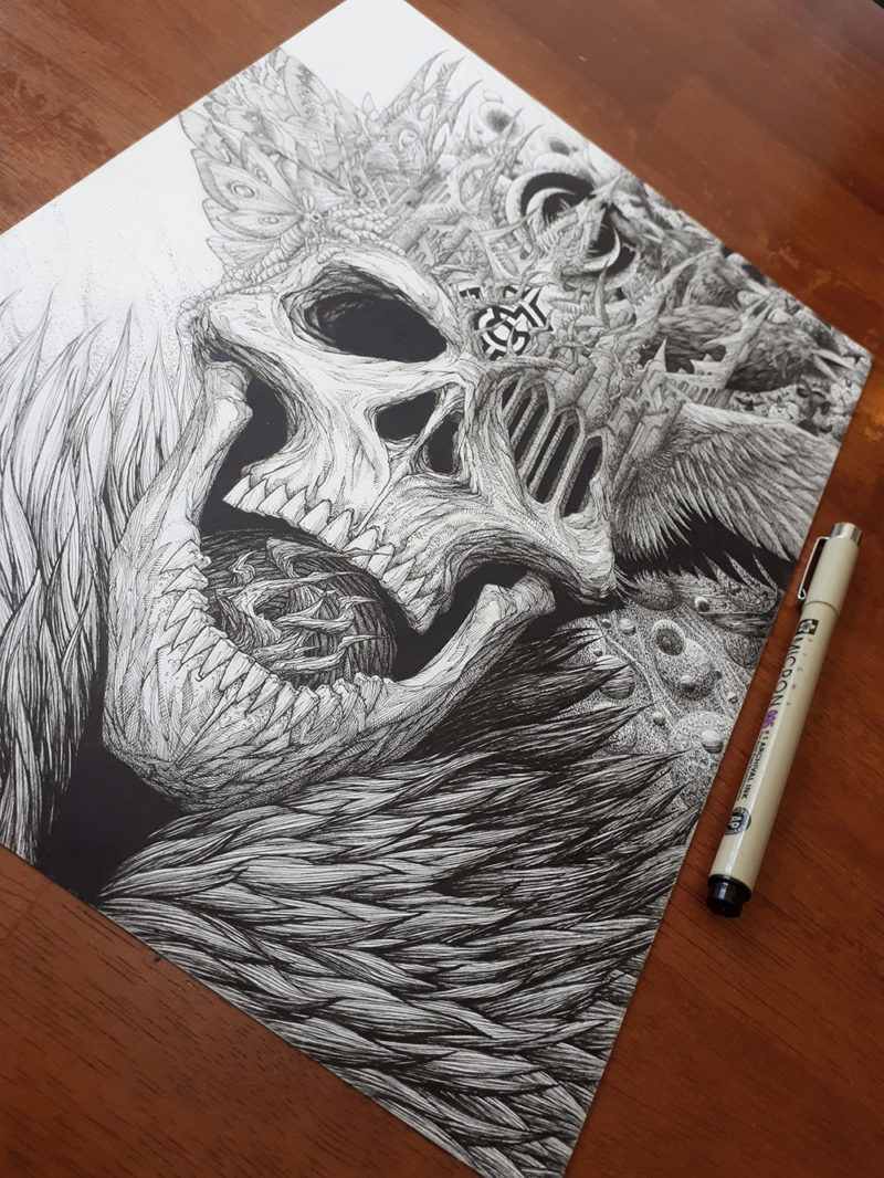 King of the Dead Ink Drawing by Aaron Wolf