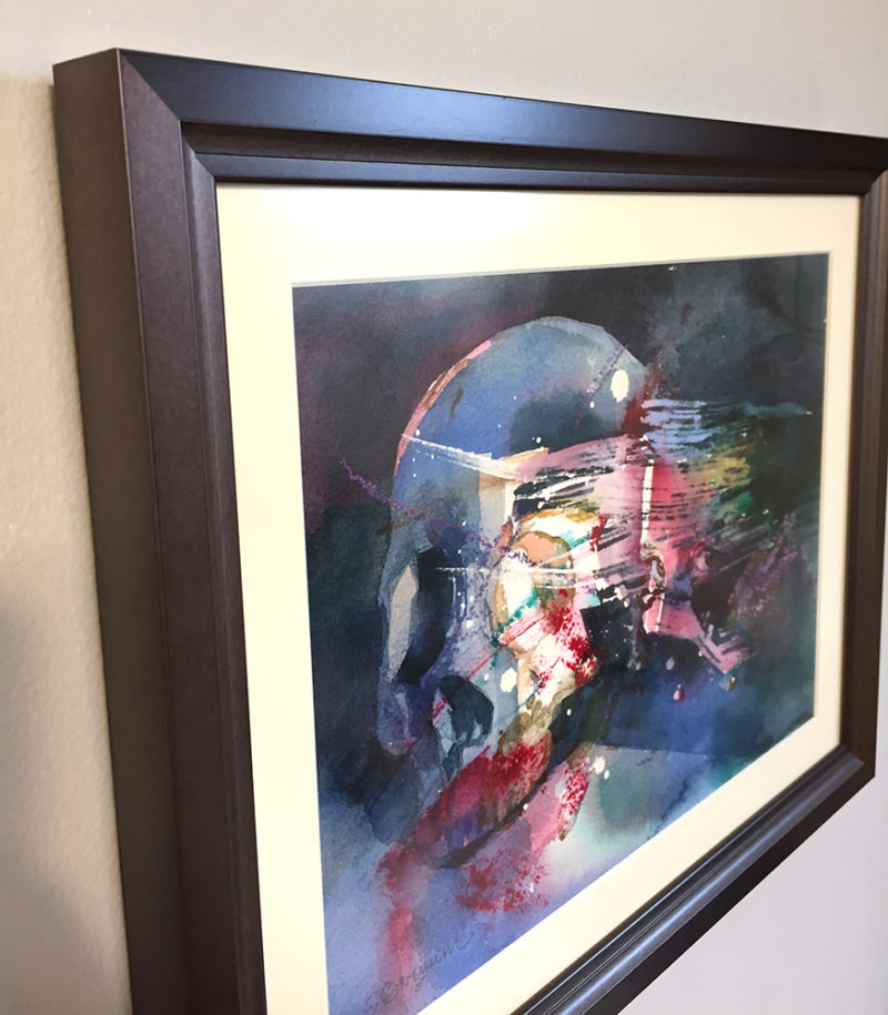 dark art watercolor of woman's face and skull