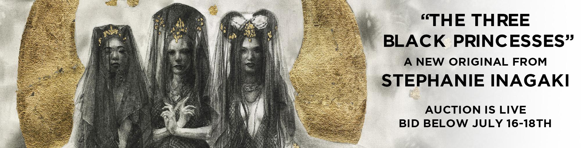 The Three Black Princesses, an original mixed media drawing by Stephanie Inagaki