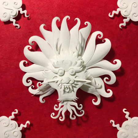 """Dragon Medallion"" paper sculpture by Tiffany Budzisz"